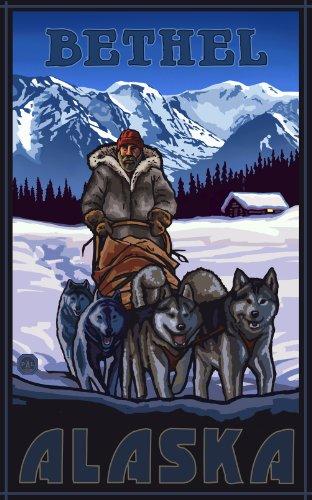 Northwest Art Mall Bethel Alaska Sled Dog Team Artwork by Paul A. Lanquist, 11 by - Bethel Mall Park