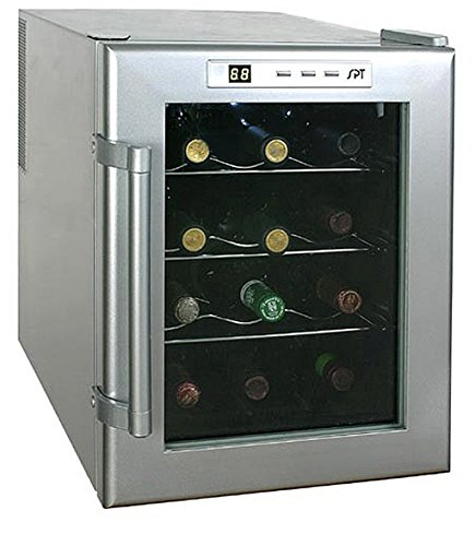 12-Bottle Silver Metallic Finish Thermoelectric Digital Controls Wine Cooler, Measures 19Hx4Wx21D, Removable Shelves, Platinum Trimming