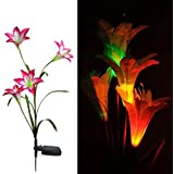 NO:1 Solar Powered 4 Head LED Lily Flower Lights Garden Lawn Night Lamp - Red