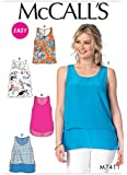McCalls Ladies Easy Sewing Pattern 7411 Scoopneck Tank Tops with Overlay Options