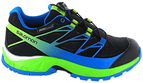 Salomon L39055600, Zapatillas de Trail Running para Niños Negro (Black /             Granny Green /             Bright Blue)