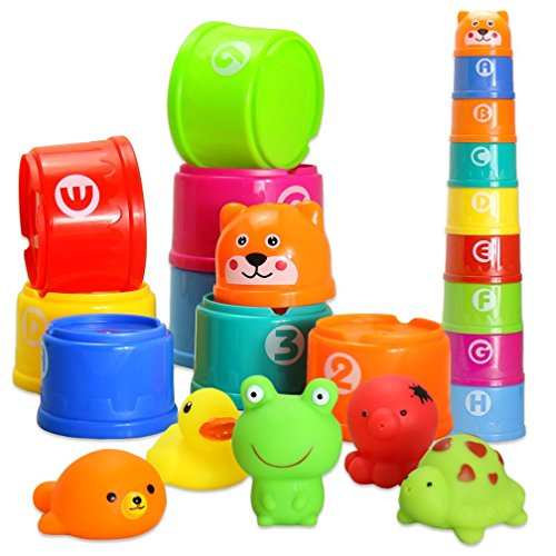 BBLIKE Bath Stacking Cups Toys for Toddlers and Squirting Bath Toys Rubber Animals BPA Free, Indoor Outdoor Beach Fun Bathtub Fun Toy for Water Play (Jungle Animal)
