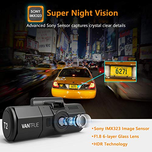 Vantrue T2 24 7 Recording Dash Cam Super Capacitor Heat Resistant Car Camera 1920x1080P 2 Inch LCD 160 Degree OBD2 Dashboard Camera, Microwave Parking Mode, Sony Night Vision Sensor, Support 256GB Max