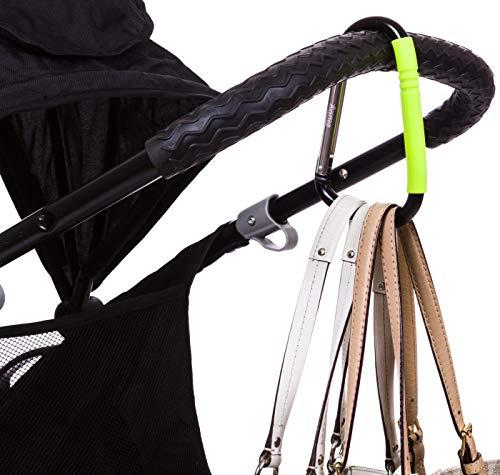 Nuby Large Stroller Hook, Mommy Hook, Carabineer Stroller Hook, Universal, Toddler Stroller Hook for Diapers, Buggy Stroller Hook for Storage, Snacks Jogging, Green ()