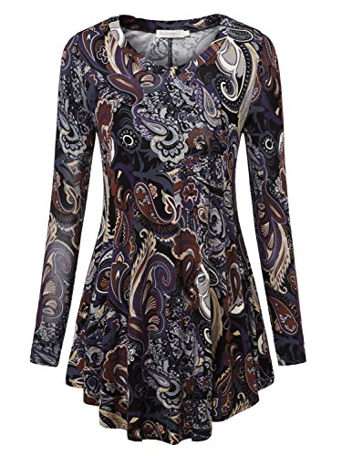 Baishenggt Womens Loose Fit Flared Tunic Top X Large T06 Brown  3