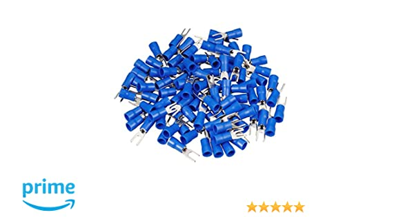 120PCS Blue Honkent SV2-4M Blue Insulated Fork Spade Wire Connector Electrical Spade Terminals for 16-14AWG Cable