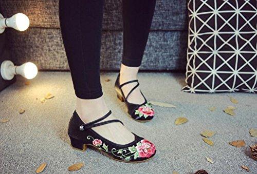 à Chaussures pour Noir Femme Lazutom de Lacets Ville AO1WPq87