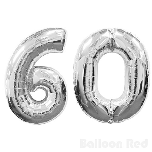 Number 60 Giant Jumbo Helium Foil Mylar Balloons, 40 inch, Glossy Silver, Premium Quality, for 60th Birthday Party