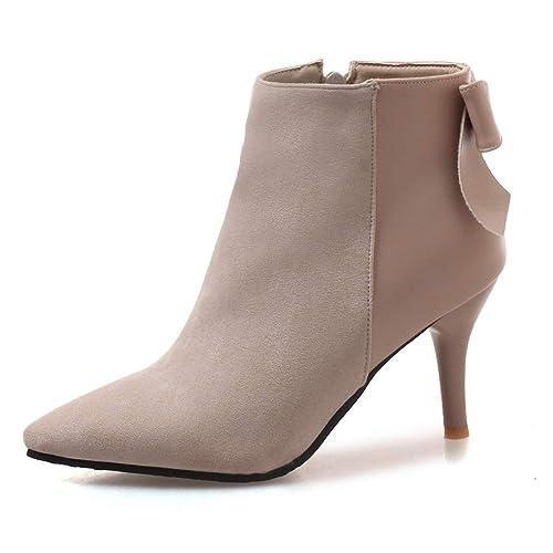 vente professionnelle technologies sophistiquées nouveau design OALEEN Bottines Femme Elégante Talon Aiguille Nœud Bout Pointu Chaussures  Boots Hiver