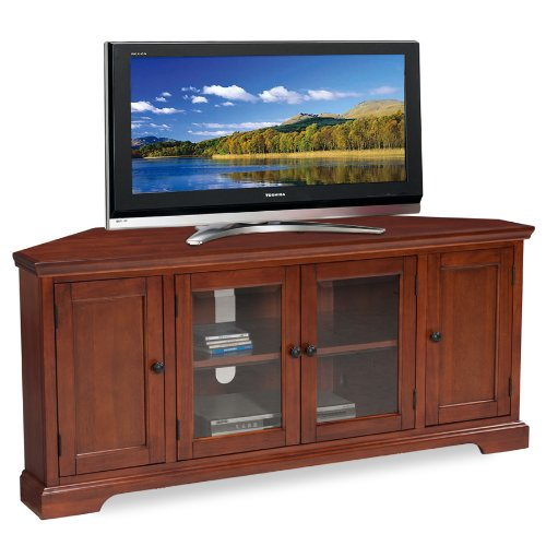 Leick Westwood Corner TV Stand, 60-Inch, Cherry Hardwood - Wood Tv Stand For 60 Inch Tv