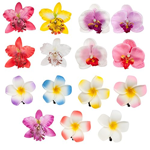 Accessories Set of 15pcs Amazing Artificial Flowers Hair Pins / Clips / Decorations With 6 Exotic Hawaii Plumerias And 9 Noble Orchids In Different Colors By VAGA (Banquette Sets)