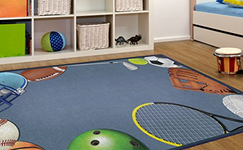 Brumlow Mills Play Ball Children Sports Area Rug, 5 x 8 , Blue, Multi-Colored