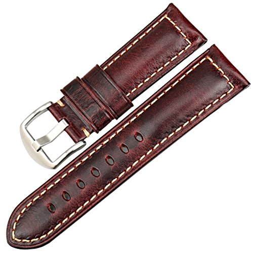 MAIKES Vintage Oil Wax Leather Strap Watch Band 5 Colors Available 20mm 22mm 24mm 26mm Watchband Greasedleather Wristband (Band Width 20mm, Red+Silver Clasp) ()