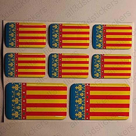 Pegatinas Valencia España Resina, 8 x Pegatinas Relieve 3D Bandera Valencia España Adhesivo Vinilo: Amazon.es: Coche y moto