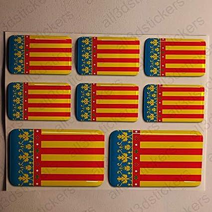 Pegatinas Valencia España Resina, 8 x Pegatinas Relieve 3D Bandera ...