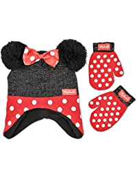 Toddler Girls Minnie Mouse Polka Dot Hat and Mitten Set,...