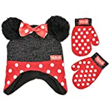 Disney Little Girls Minnie Mouse Polka Dots Acrylic Knit Winter Hat with Large Yarn Poms and 3D Polka Dot Bow with Matching Mitten Set, Red/Black, One Size