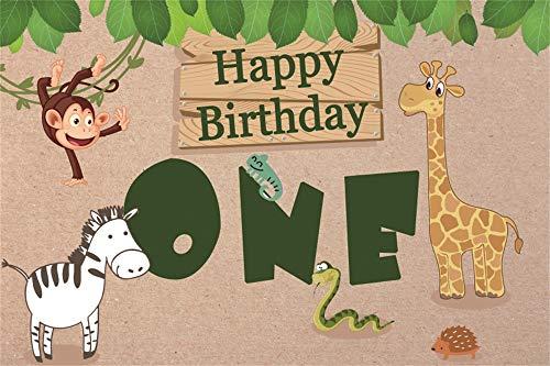 Baocicco Happy Birthday Backdrop 5x3ft One Year Old Cartoon Colorful Cute Animals Zebra Monkey Giraffe Hedgehog Gecko Green Leaf Plank Background Backdrop Children Baby Shower Party Decor Props -
