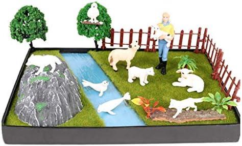 T TOOYFUL マイクロシーナリーボード 農場 動物園 ジュラ纪 公園 動物モデル DIY 造園 子供 プレイセット - B