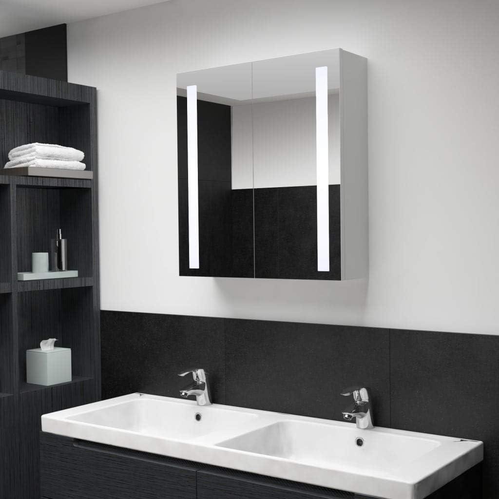 Cikonielf - Armario de baño con espejo LED equipado con dos puertas y 3 estantes interiores, diseño moderno, tablero DM de alta calidad 62 x 14 x 60 cm
