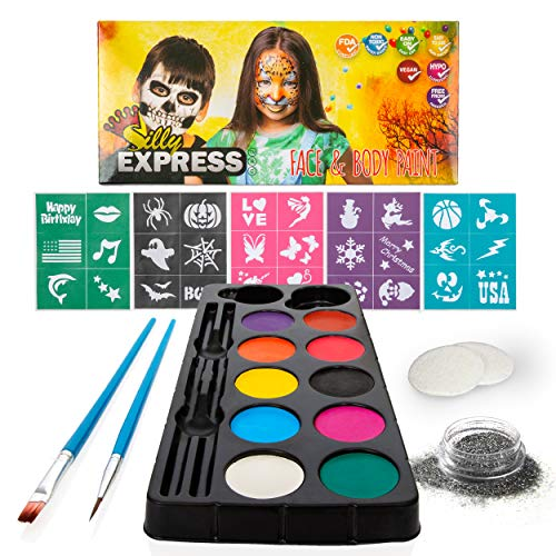 Silly Express Face Paint Kit for Kids | 30 Stencils 10 Paints 2 Brushes 1 Glitter 2 Sponges | Professional Quality for Face & Body | Water-based Non-Toxic Safe| Halloween Birthday Party Costume Makeup -