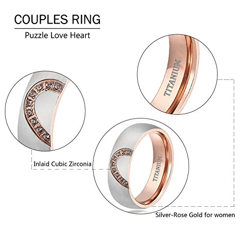 TIGRADE Real Love HeartTitanium Wedding Bands Couple Engagement Rings CZ Inlaid (women's, 9.5) by TIGRADE (Image #2)