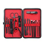 15 Pcs Stainless Steel Manicure Pedicure Set Personal Nail Care Clippers Set Nail Grooming Kit with Black Leather Case for Travel Home Use