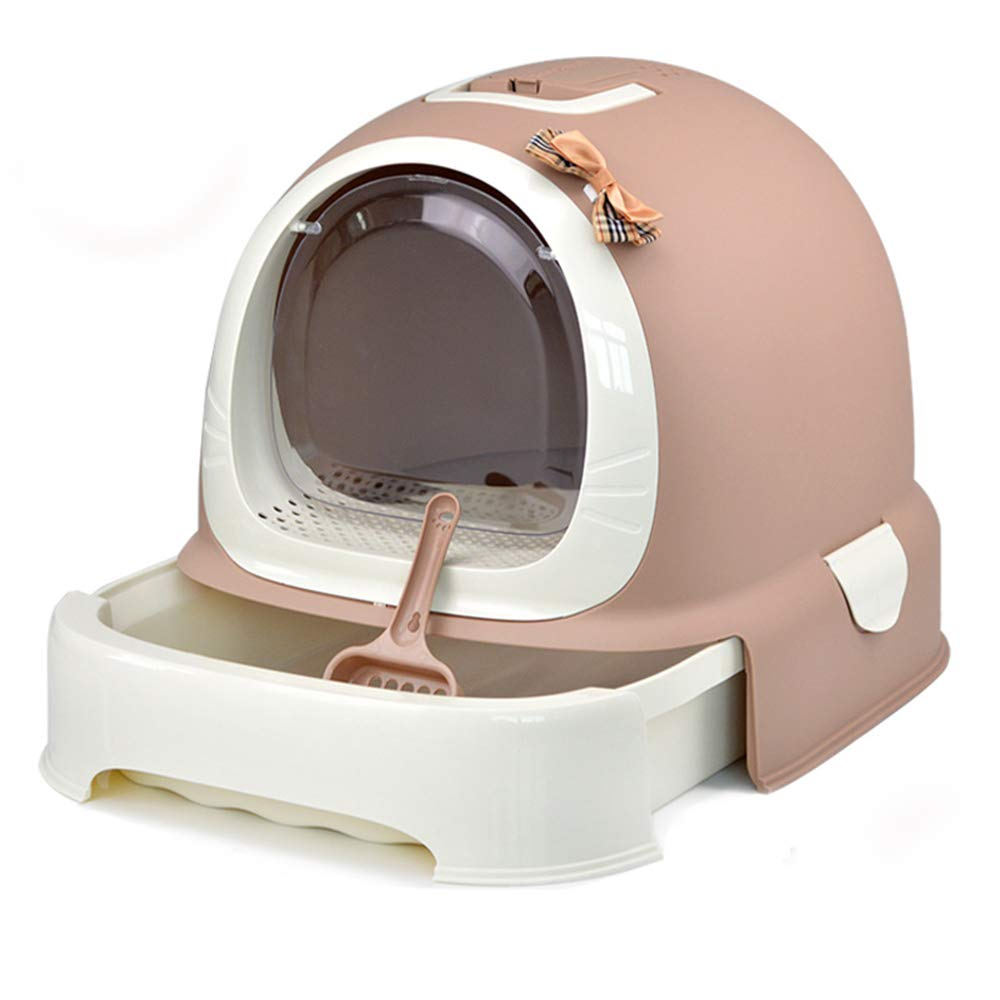 Brown GOYOO Cat litter cat toilet Fully enclosed Cat toilet Fat cat Cat sand basin Drawer type,Brown