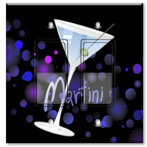 Printed Decora Rocker Style Double Switch with matching Wall Plate - Blue Martini
