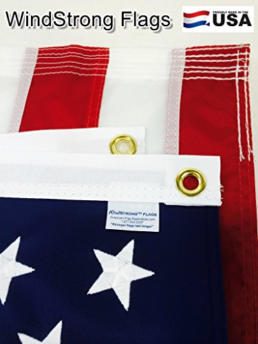 4x6 FT US American Windstrong Flag Deluxe SolarMax Nylon (Embroidered Stars Sewn Stripes) Commercial Grade -6- Rows of Stitching Reinforced Corners Made in USA