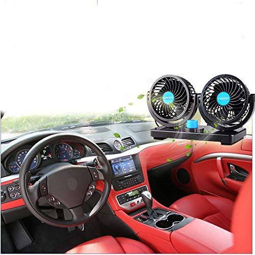 Xcellent Global 12V Car Dual Heads Cooling Fan Rotating Auto Quiet Ventilation with Kids Safe Design AT015