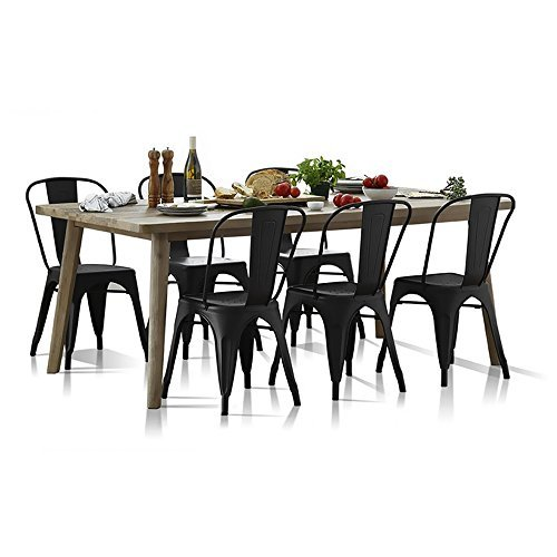 Furmax Metal Dining Chair Indoor-Outdoor Use Stackable Classic Trattoria Chair Chic Dining Bistro Cafe Side Metal Chairs Black Metal(Set of 4) by Furmax (Image #4)