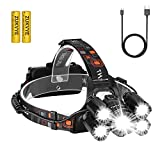 Rechargeable LED headlamp, Zukvye Super Bright 5 LED Headlight Zoomable Waterproof CREE Headlamps Flashlight for Cycling, Running, Dog Walking, Camping, Hiking, Fishing, Night Reading and DIY Works