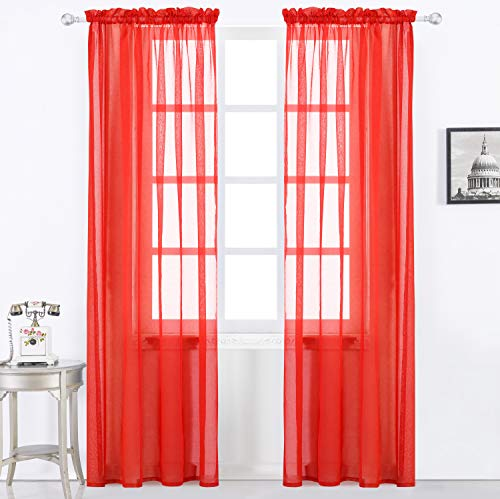 Selectex Solid Color Linen Look Semi-Sheer Curtains - Rod Pocket Voile Curtains for Living and Bedroom, Set of 2 Curtain Panels(54 x 72 Inch, Rod Pocket-Red) (Voile Red Panels)