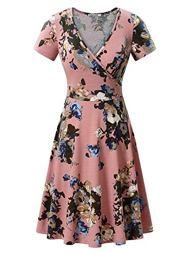 - MSBASIC Plus Size Summer Dresses Holiday Dresses for Women Pink Floral L