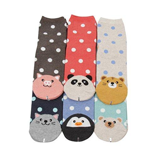 FloraKoh Women Cotton Crew Casual Socks 6 Pair Pack Colors (Animal)