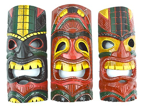 Set-of-3-Polynesian-Hawaiian-Tiki-Bar-Style-Wall-Masks-12-inches-Island-Art