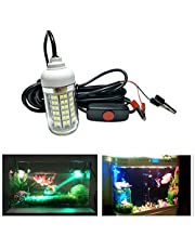DishyKooker IP68 12V-24V 108LED Professional Underwater Fishing Light with Alligator Clip Attracting Fish Lamp White Light