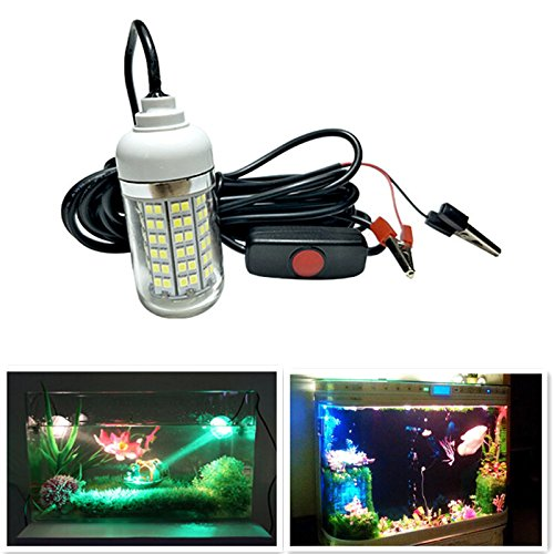 DSstyles IP68 12V-24V 108LED Professional Underwater Fishing Light with Alligator Clip Attracting Fish Lamp
