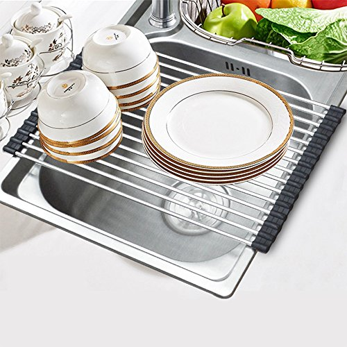 Roll-up Dish Drying Rack Foldable Stainless Steel Over Sink Rack Kitchen Drainer Rack