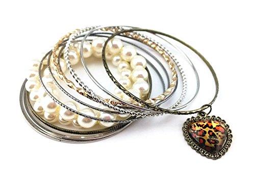 Honbay 12pcs Set Vintage Leopard Print Heart Multicolor Mix Jewelry Pearl Multi Bracelets Set Cuff Bracelet Bangle