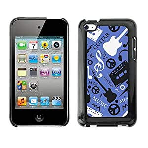Soft Silicone Rubber Case Hard Cover Protective Accessory Compatible with Apple IPod Touch 4 - Music Guitar Hippy Pattern