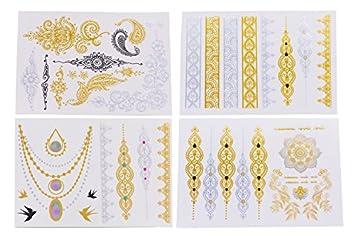 Amazon Com Temporary Tattoo Kit 4 Pcs Henna Tattoo Fake Tattoos