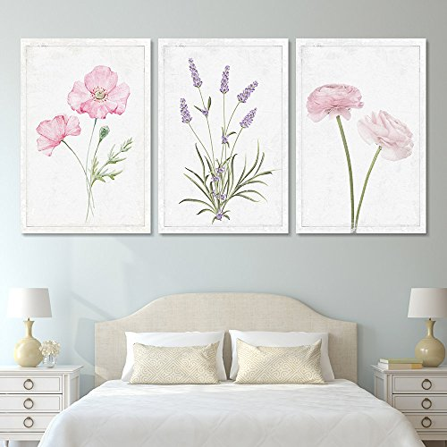 wall26 - 3 Panel Canvas Wall Art - Hand Drawn Lavender Pink Flowers Artwork - Giclee Print Gallery Wrap Modern Home Decor Ready to Hang - 16