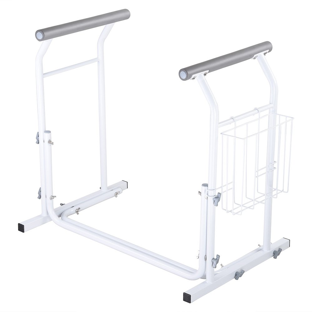 AW Stand Alone Toilet Safety Frame Rail Bar 375lbs Padded Handrails with Magazine Rack Assist for Elderly Handicap