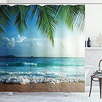 Ambesonne Ocean Shower Curtain, Palms Tropical Island Beach Seashore Water Waves Hawaiian Nautical Marine, Cloth Fabric Bathroom Decor Set with Hooks, 75