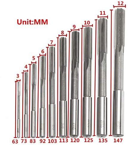 GENERICS LSB-Werkzeuge, 10 stücke HSS H7 Zylinderschaft Fräsen Reibahlen Set Präzision Spannmaschine Cutter Tool 3/4/5/6/7/8/9/10/11/12 mm