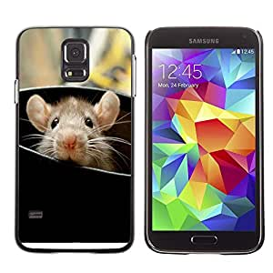 Caucho caso de Shell duro de la cubierta de accesorios de protección BY RAYDREAMMM - Samsung Galaxy S5 SM-G900 - Rat Cute Rodent Peeking Big Ears Animal