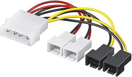 Adaptador de Corriente/Cable de Corriente de Ventilador de PC; Conector Macho de 5,25 a 2 de Ventilador de 12 V/2 de 5 V: Amazon.es: Informática