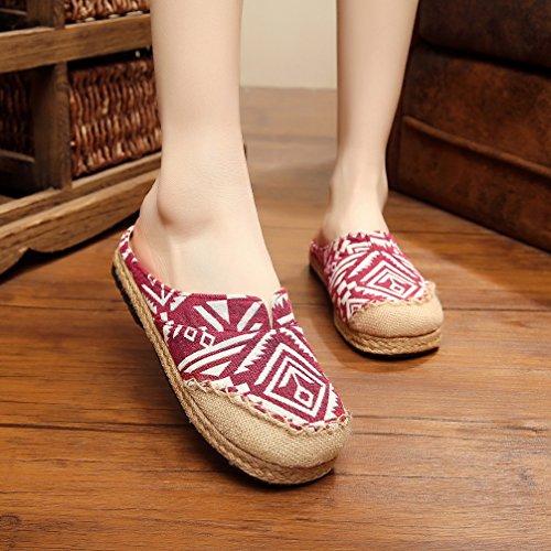 Pantofole Casual Stile Etnico Di Ausom Donna Ricamo Backless Slip On Scarpe Mocassino Rosso